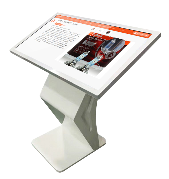 Large desktop device of an interactive digital signage kiosk