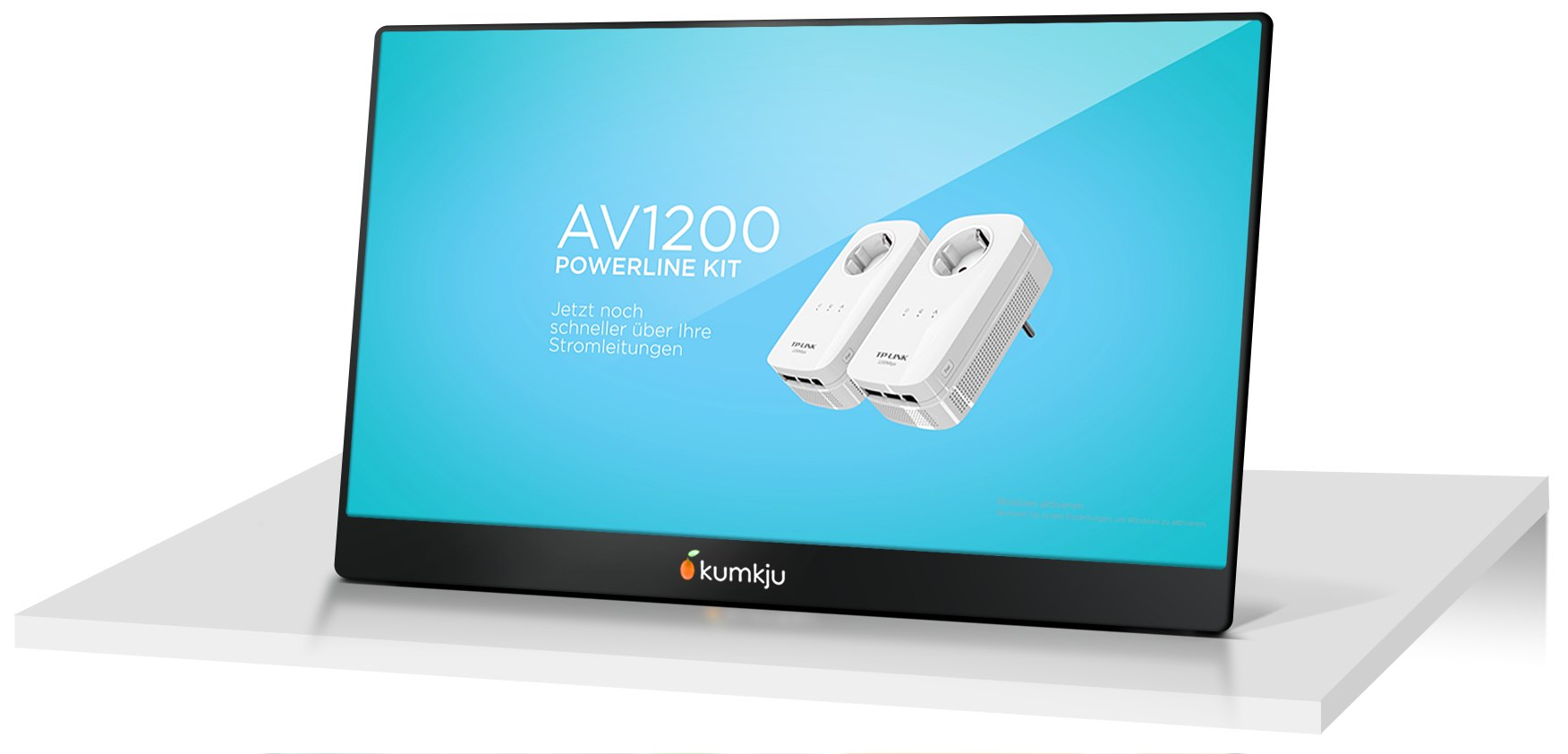 kumkju Digital Signage Touchscreen Monitor mit TPlink Werbung