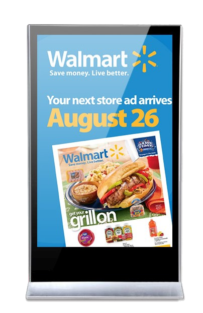 Waltmart ad on an interactive digital signage screen