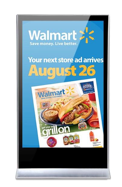 Digital Signage Stele mit Walmart Werbung bodenstehend