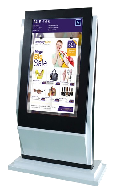 Large digital signage touchscreen as a digital advertising poster