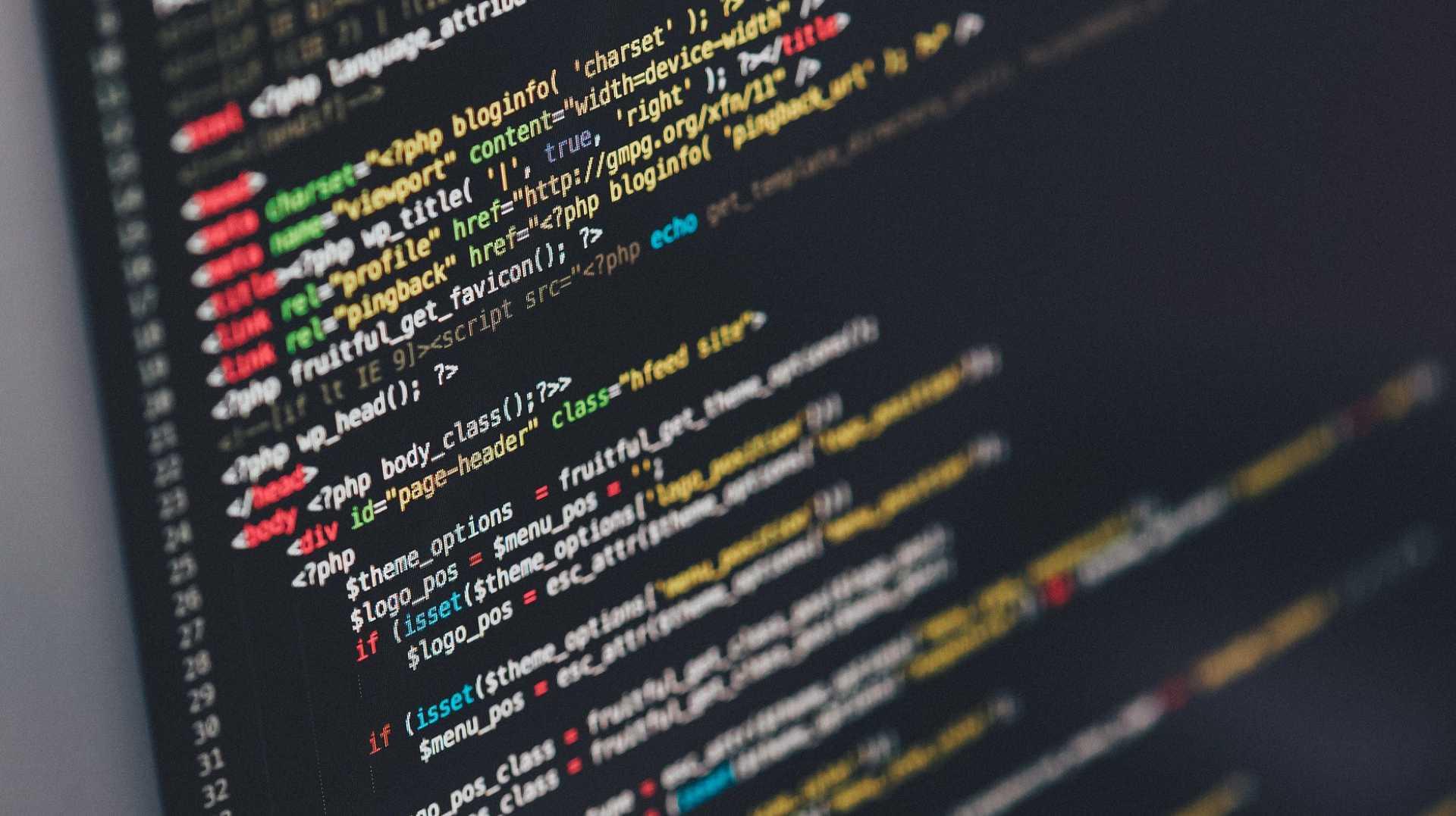 Zeilen von Code auf einem Bildschirm